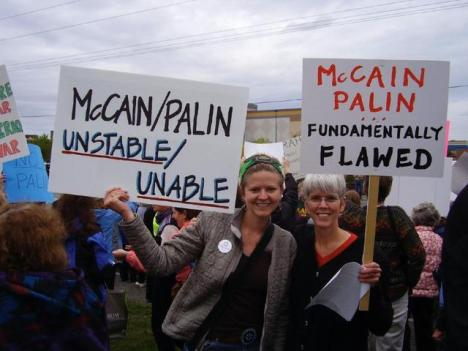 Anti-Palin protesters in Anchorage