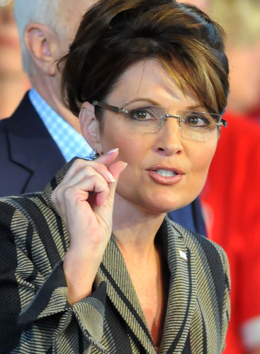 Sarah Palin speaking at a rally in Sterling Heights, Michigan